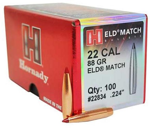 """Picture of Hornady Rifle Bullets, ELD-Match - 22 Cal (.224""""), 88Gr, 100ct Box"""