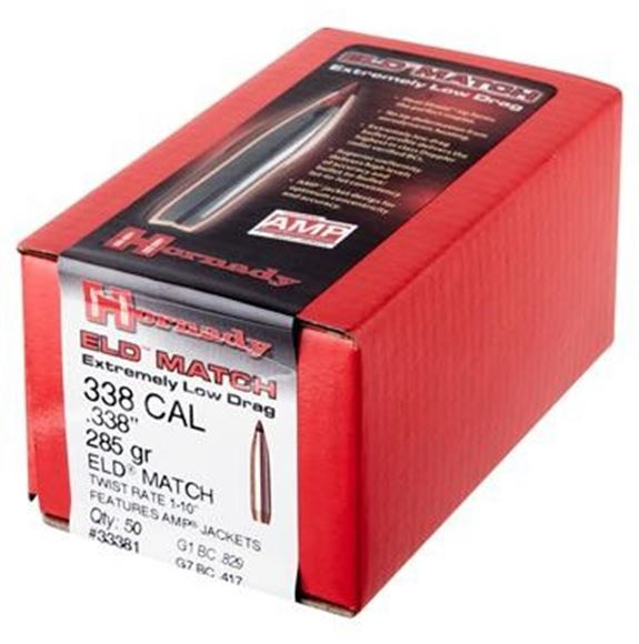 """Picture of Hornady Rifle Bullets, ELD-M - 338 Caliber (.338""""), 285Gr, ELD-M, 50ct Box"""