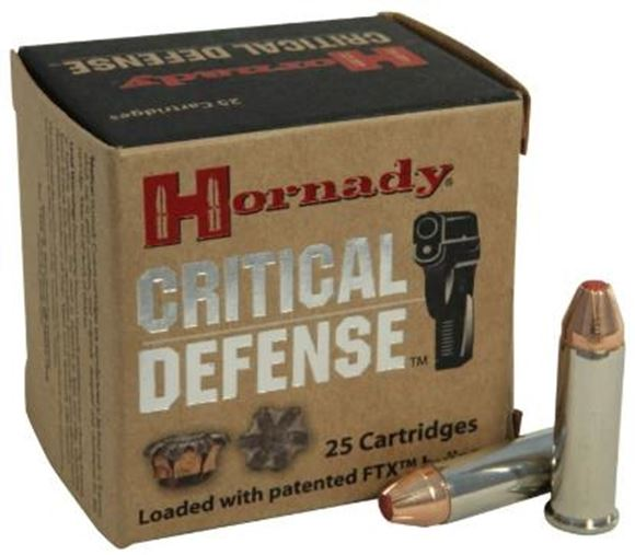 Picture of Hornady Critical Defense Handgun Ammo - 38 Special +P, 110Gr, FTX, 25rds Box