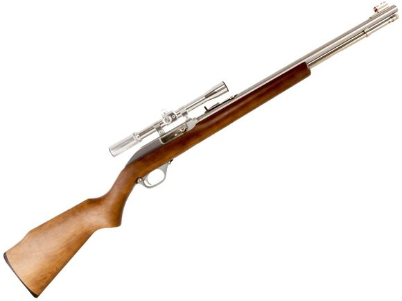 "Picture of Marlin Model 60SB Scoped Rimfire Semi-Auto Rifle - 22 LR, 19"", Micro-Groove Rifling, Stainless Steel, Monte Carlo Walnut Finished Laminated Hardwood Stock w/Full Pistol Grip & Mar-Shield Finish, 14rds, Ramp Front & Adjustable Rear Open Sights, w/4x20mm S"