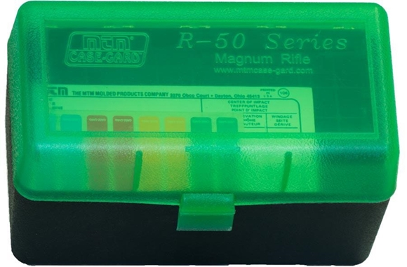 Picture of MTM Case-Gard R-50 Series Rifle Ammo Box - RL-50, 50rds, Green/Black