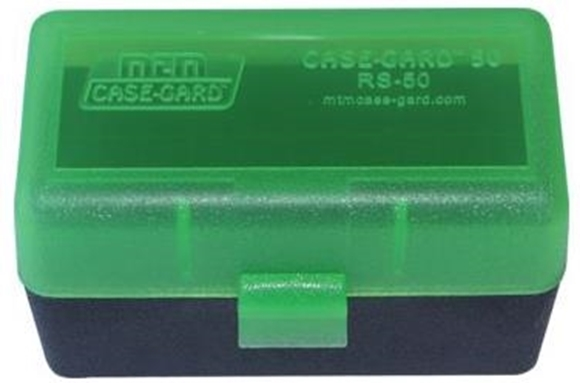 Picture of MTM Case-Gard R-50 Series Rifle Ammo Box - RS-50, 50rds, Green/Black