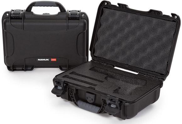 "Picture of Nanuk Professional Protective Cases - Classic Single Pistol Case, Pre-cut Foam, Waterproof & Impact Resistant, 12.64"" x 9"" x 4.38"", Black"