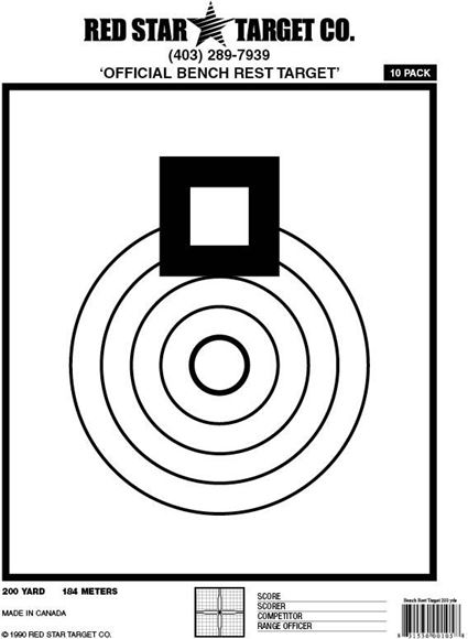 """Picture of Red Star Targets - Bench Rest 200 Yards, 8.5"""" x 11"""", Extra Thick Shooting Paper"""