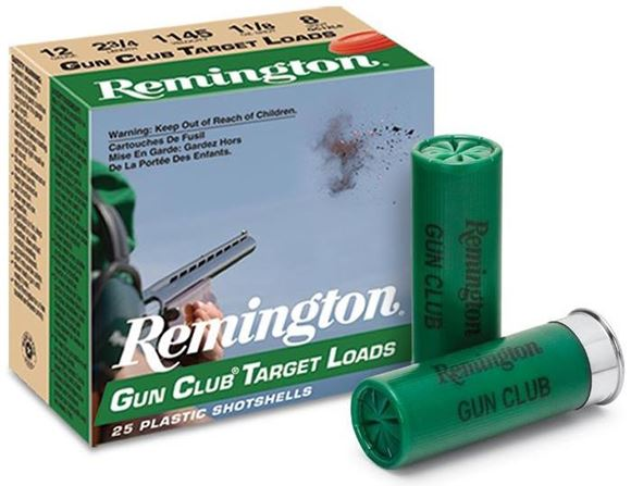 "Picture of Remington Target Loads, Gun Club Target Loads Shotgun Ammo - 12Ga, 2-3/4"", 2-3/4 DE, 1-1/8oz, #8, 25rds Box, 1145fps"
