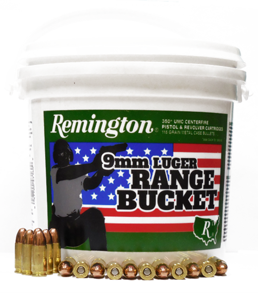 Picture of Remington UMC Pistol & Revolver Handgun Ammo - 9mm, 115Gr, MC, 1400rds Case Range Bucket (4x350rds)