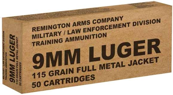 Picture of Remington Military / Law Enforcement Training Handgun Ammo - 9mm Luger, 115Gr, FMJ, 500rds Case