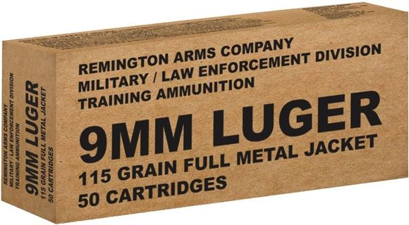 Picture of Remington Military / Law Enforcement Training Handgun Ammo - 9mm Luger, 115Gr, FMJ, 50rds Box