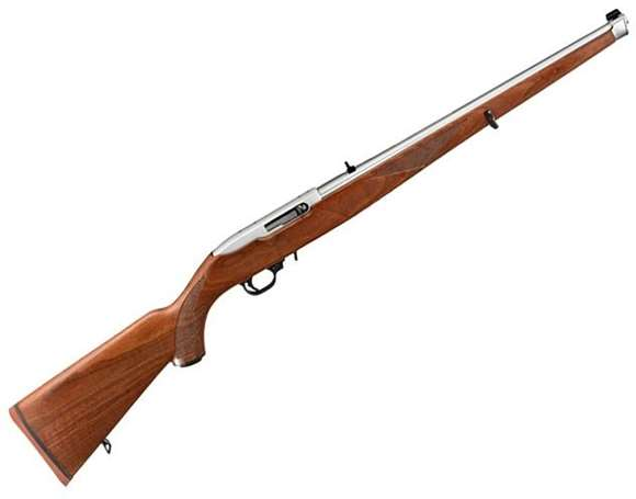 """Picture of Ruger 10/22 Carbine Rimfire Semi-Auto Rifle - 22 LR, 18.50"""", 1:16"""" RH, Polished Stainless Steel, Walnut Mannlicher Stock, 10rds, Gold Bead Front & Adjustable Rear Sight"""