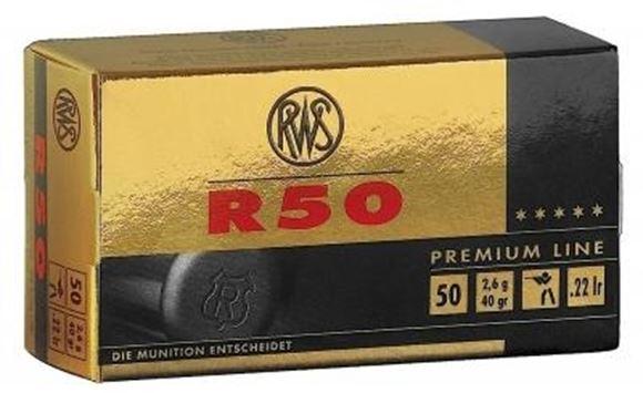 Picture of RWS Rottweil Premium Line Sports Rimfire Ammo - R 50, 22 LR, 40Gr (2.675g), LRN, 500rds Brick