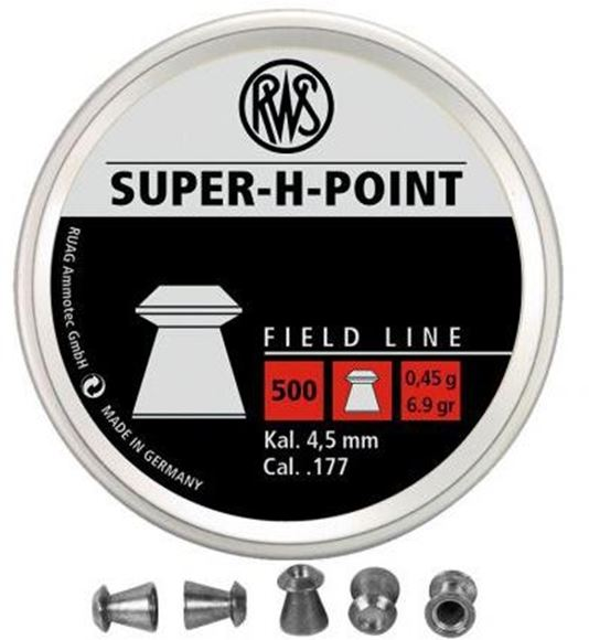 Picture of RWS Rottweil Field Line Hunting/Sports Air Gun Pellets - RWS Super H Point, 177 Caliber (4.5mm), 6.9Gr (0.45 g), Hollow Point, 500ct Tin Can