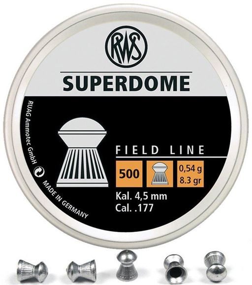 Picture of RWS Rottweil Field Line Hunting/Sports Air Gun Pellets - RWS Superdome, 177 Caliber (4.5mm), 8.3Gr (0.54 g), Round Head, 500ct Tin Can