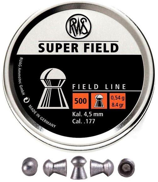 Picture of RWS Rottweil Field Line Hunting/Sports Air Gun Pellets - RWS Super Field Target, 177 Caliber (4.5mm), 8.4Gr (0.54 g), Conical Head, 500ct Tin Can