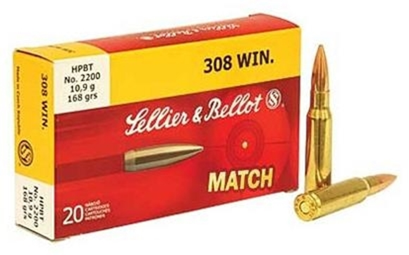 Picture of Sellier & Bellot Rifle Ammo - 308 Win, 168Gr, HPBT, 20rds Box