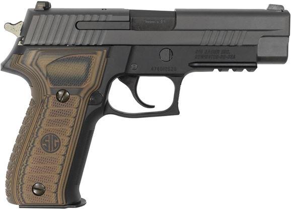 "Picture of SIG SAUER P226 Semi Auto Pistol DA/SA - 9mm, 4.4"", SIGLite Night Sights, SIG Rail, Custom G10 Grips, Stainless Steel Slide/Alloy Frame Nitron, Black Finish"