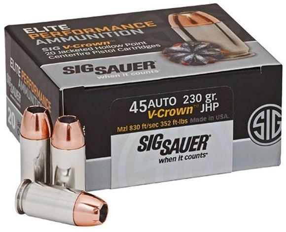 Picture of Sig Sauer Elite Performance Handgun Ammo - 45 Auto, 230Gr, V-Crown JHP, 20rds Box