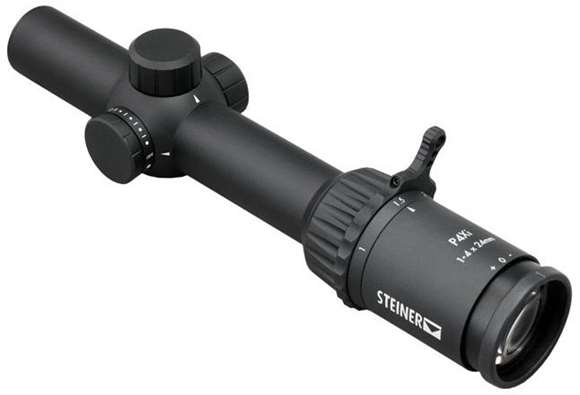 Picture of Steiner Optics, P4Xi Compact Rifle Scope - 1-4x24mm, 30mm, Matte Black, .5 MOA Click Value, P3TR Illuminated Reticle, CR2032, Water/Fog/Shockproof