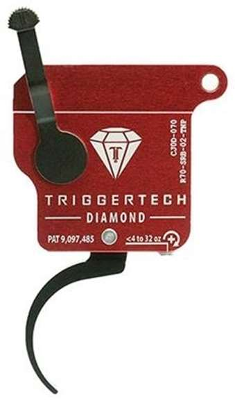 Picture of Trigger Tech, Remington 700 Trigger - Black Diamond Pro Clean Frictionless Trigger, Curved, Single Stage, 4-32 oz, PVD Black, Red Housing, No Bolt Release
