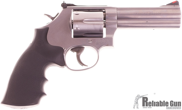 "Picture of Used Smith & Wesson (S&W) Model 686-6 DA/SA Revolver - 357 Mag, 4-1/4"", Satin Stainless Steel Frame & Cylinder, Medium Frame (L), Synthetic Grip, 6rds, Red Ramp Front & Adjustable White Outline Rear Sights. As new condition."