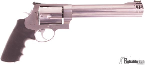"Picture of Used Smith & Wesson (S&W) Model 460XVR DA/SA Revolver - 460 S&W Mag, 7.5"" Barrel, Satin Stainless Steel, X-Large Frame (X), Synthetic Grip, 5rds, Hi-Viz Front & Adjustable Rear Sights, w/RCBS Dies, Good Condition"