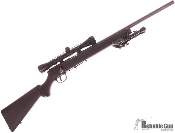 Picture of Used Savage 93R17 FV Bolt Action Rifle, 17 HMR, 21'' Heavy Barrel Barrel, Black Synthetic Stock, Konus 3-9x32 Scope, 1 Magazine,  Bi Pod, Hard Case, Very Good Condition