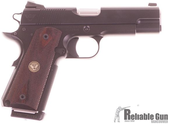 Picture of Pre Owned Wilson Combat CQB Commander 1911, 45 ACP, 4.25'' Barrel, Black Frame and Slide, Wood Grips, 2 Magazines, Original Case, New Condition