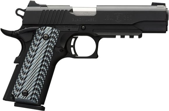 "Picture of Browning 1911-380 Black Label Pro w/Rail Single Action Semi-Auto Pistol - 380 ACP, 4-1/4"", Matte Black Steel Slide, Matte Black Composite Frame w/Acc Rail, Black Composite Grip Panels, 8rds, Combat White Dot Front & Rear Sights, Extended Ambi Safety"