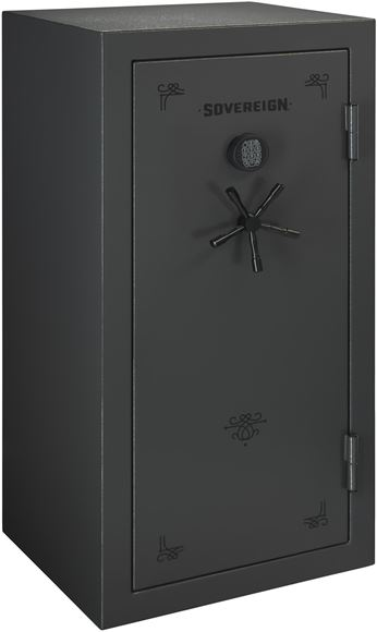 Picture of Stack-On Secure Storage, Sovereign Safes - 36 Gun Safe with Electronic Lock and Door Storage, Dark Pebble Gray Paint Finish with Black Accents, 75 minutes up to 1400F, 29.25 x 25.5 x 59.3