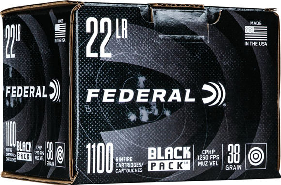 Picture of Federal Black Pack Rimfire Rifle Ammo - 22 LR, 38 gr, CPHP, 1260fps, 1100rd Brick