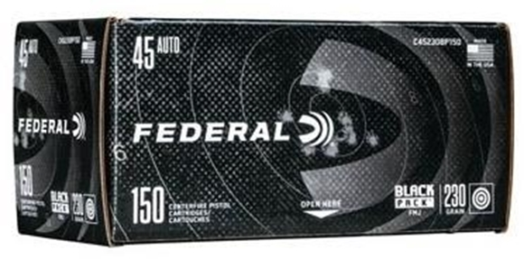 Picture of Federal Black Pack Handgun Ammo - 45 Auto (ACP), 230Gr, Full Metal Jacket, 150rds Brick