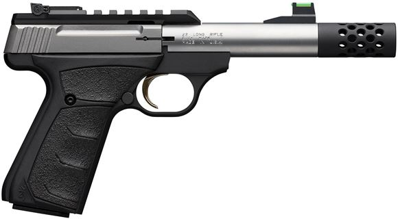 "Picture of Browning Buck Mark Plus Micro Bull SR Rimfire Semi-Auto Pistol - 22 LR, 4-2/5"", Matte Black, Stainless Barrel & Slide, UFX Overmolded Grips, 10rds, Pro-Target Adjustable Sights, Picatinny Optic Rail, Suppressor Ready w/ Brake"