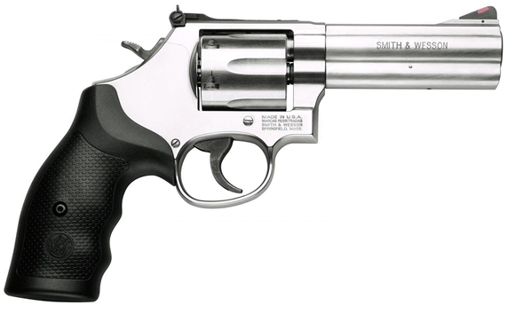 """Picture of Smith & Wesson (S&W) Model 686-6 DA/SA Revolver - 357 Mag, 4-1/4"""", Satin Stainless Steel Frame & Cylinder, Medium Frame (L), Synthetic Grip, 6rds, Red Ramp Front & Adjustable White Outline Rear Sights"""