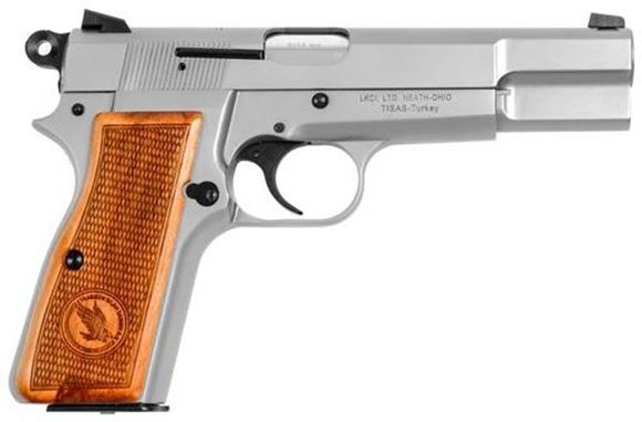 Picture of Tisas, Canuck HP Single Action Semi-Auto Pistol -  9mm, 2x10rds, Stainless Steel, Exclusive Canuck Pattern Walnut Grips
