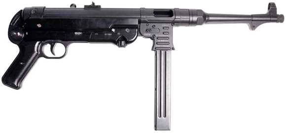 """Picture of German Sport Guns (GSG) MP-40 Semi-Auto Rifle - 9mm, 10"""", Blued, Folding Metal Stock, 1x5rds, Fixed Front Post & Adjustable Rear Sights, Restricted"""