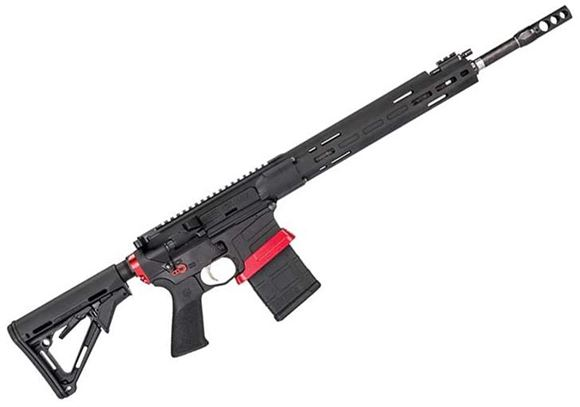 "Picture of Savage Arms MSR15 Competition Semi-Auto Rifle - 224 Valkyrie, 18"" Carbon Fiber Wrapped Barrel, 1:7"" 6-GR, RH, Adjustable Gas System, Free-Float M-LOK Handguard, 2 Stage Trigger, Hogue Pistol Grip & Magpul CTR Stock, Tunable Brake, Black w/ Red Accents"