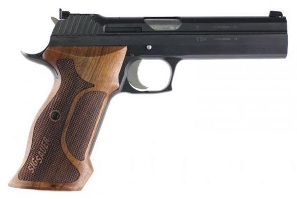 "Picture of Sig Sauer P210 Super Target Single Action Semi-Auto Pistol - 9mm, 5"", Black PVD Coating, Ergonomic Wood Grips, 2x8rds, Micrometer Sight, Schwartz"