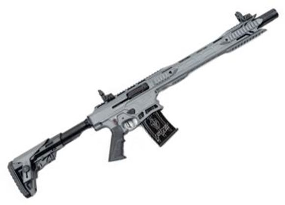 """Picture of Typhoon Defence F12 MAXI Vertical Magazine Semi-Auto Shotgun - 12Ga, 3"""", 18.5"""", Titanium Cerakote Finish,1x2rds & 2x5rds, Canted Iron Sights, Adjustable Stock, 5 Chokes, Sling, Magwell Flange, Extended Bolt Release Lever"""