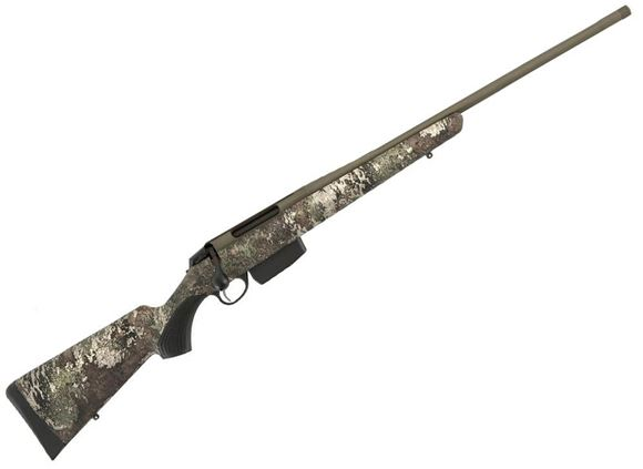 "Picture of Tikka T3X Superlite Cerastrat Bolt Action Rifle - 6.5 Creedmoor, 22.5"", OD Green Cerakote Finish, Fluted Barrel w/ Brake, True Timber Strata Camo Synthetic Stock, Asymmetrical Grip Pattern, 3rds"