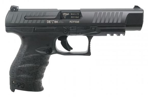 "Picture of Walther PPQ M2B Single Action Semi-Auto Pistol - 9mm, 5"", Tenifer Coated Black, Steel Slide & Polymer Frame, 2x10rds, 3-Dots White Dot Sights, Rail, Backstraps"