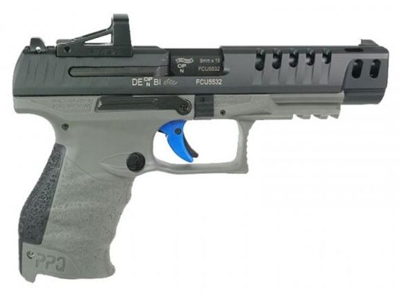 """Picture of Walther PPQ Q5 Match Combo Semi-Auto Pistol - 9mm, 5"""" Barrel, Tungsten Gray Frame, 3x10 Rds, With Shield RMSc 4 MOA Red Dot Sight"""