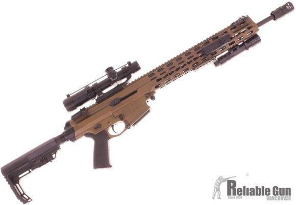 "Picture of Used Robinson Armament XCR-LW Competition Semi-Auto Rifle - 223/5.56, 18.6"", Light Contour, 1:9"", Lightweight Key-Mod, FAST Collapsble Stock And MFT Minimalist Stock, Burnt Bronze, 1 Magazine, Phase 5 Muzzle Brake, Flashlight, Bushnell AR 223 1-4 Scope,"