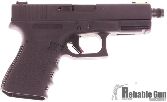 Picture of Used Glock 19 Gen3 Safe Action Semi-Auto Compact Pistol, 9mm, Factory Threaded Barrel, Black, 2x10rds, ZEV Trigger, Hi Viz Sights, Extended Slide Release, (Made In Austria), Very Good Condition