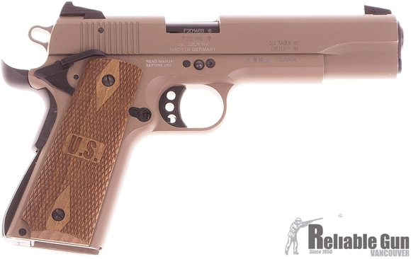 """Picture of Used SIG SAUER 1911-22 Single Action Rimfire Semi-Auto Pistol - 22 LR, 5.0"""", FDE, Rosewood Grip, Contrast Sight, 2 Magazines, Excellent Condition"""