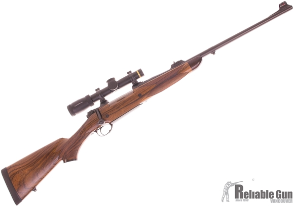 Picture of Used CZ 550 Custom AHR Bolt Action Rifle, 375 H&H, 23'' McGowan Bbl w/Custom Island Safari Sights F/O Front, Oberndorf Bolt Handle, 1 Piece Custom Bottom Metal, Gun Kote Finish, Single Stage Trigger, Model 70 Style Safety, With Extra Fiberglass Stock (Sa