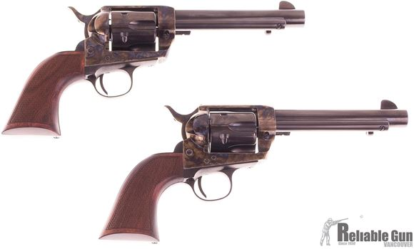 Picture of Used Pietta 1873 SAA Single Action Revolver Pair (Consecutive SN), 45 Colt, 5-1/2'' Barrels, Polished Blue Finished Barrel And Cylinder, Case Hardened Receiver, Checkered Wood Grips, Excellent Condition (Pair)