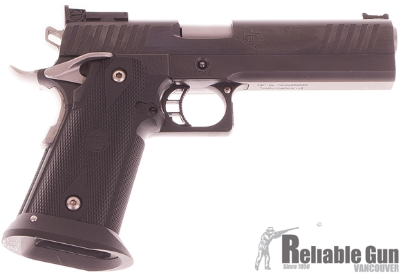 """Picture of Used STI International 2011 Edge Single Action Semi-Auto Pistol - 40 S&W, 5.01"""", Blued w/Sides of Slide Polished, Black Glass Filled Nylon Polymer Modular w/STI Stainless Magwell, 3x10rds, Dawson F.O. Front & STI Adjustable Rear Sights, With Advantage Ar"""