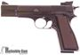 Picture of Used Browning Hi-Power 9mm Luger Semi Auto Pistol, Blued, Wood Grips, Original Box, Adjustable Rear Sight, No Mag, Excellent Condition