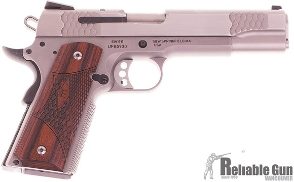 "Picture of Used Smith & Wesson (S&W) Model SW1911 E-Series Single Action Semi-Auto Pistol - 45 ACP, 5"", Satin Stainless Steel, Wooden Laminate E-Series Grips, 2x8rds, Fixed White 3-Dot Sights, Original Box, Excellent Condition"