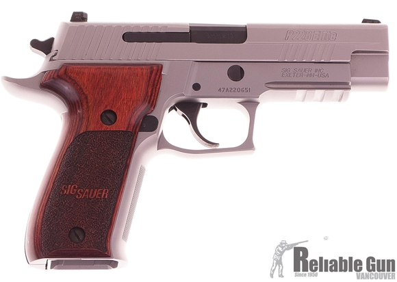"Picture of Used SIG SAUER P226 Elite Stainless DA/SA Semi-Auto Pistol - 9mm, 4.4"", Stainless, Custom Rosewood Grips, 2x10rds, SIGLITE Night Sights, SRT, Rail, Beavertail, Excellent Condition"
