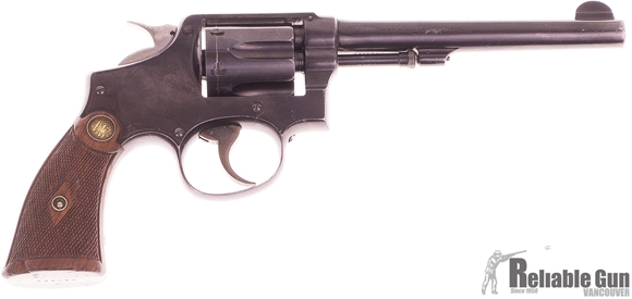Picture of Used Smith & Wesson Model 10 Revolver, 38 S&W Special, Standard Barrel 6'', Wood Grips Chipped At Bottom, Hammer Rounded and Polished, Leather Holster, Fair Condition